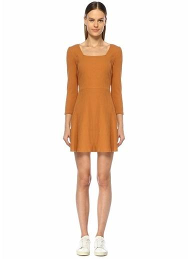 Glamorous Kare Yaka Uzun Kol Ribli Mini Elbise Ten